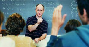 male professor calling on student