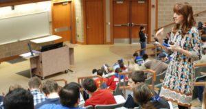 Professor in lecture hall