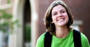 female college student smiling