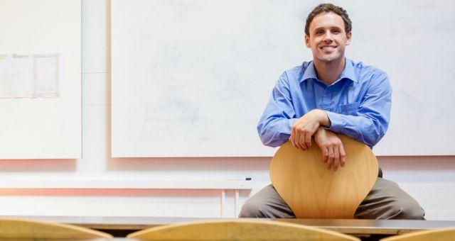 Professor in empty classroom