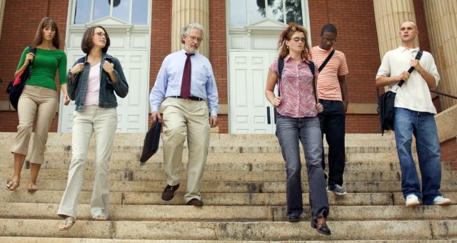 faculty and students on campus steps
