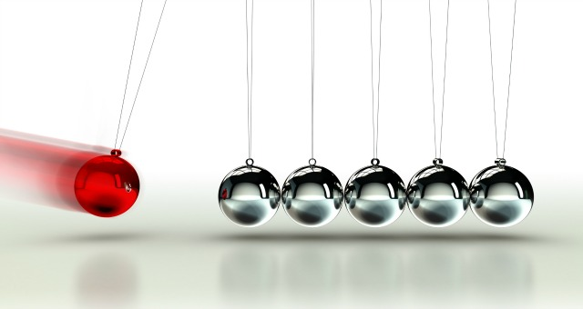 Newton's Cradle with red ball