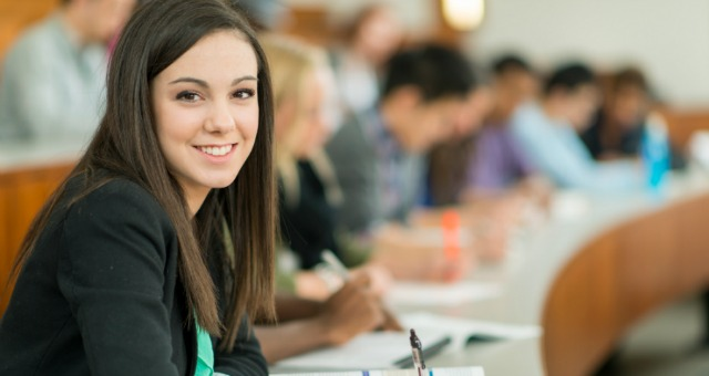 Students in lecture hall.