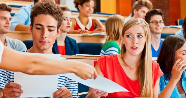 Students get tests back.