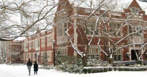 college campus in winter