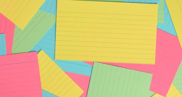 multicolored notecards