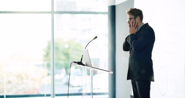 Student panics when starting presentation at podium