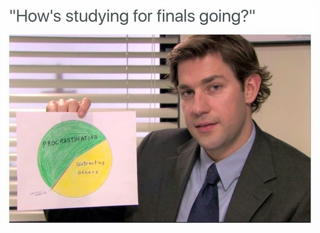 """This Office meme says, """"How's studying for finals going?"""" and has a picture of a character holding up a sign with 60 percent procrastinating and 40 percent distracting others"""