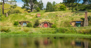 Featuring hobbit homes under a hill to reflect The Hobbit in the article