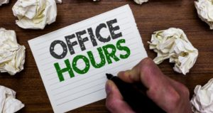 "Notecard with ""Office Hours"" written on it"