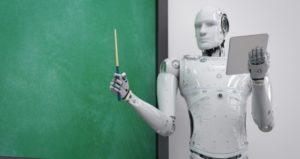 robotic teacher presents information in front of chalkboard