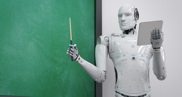 robotic teacher presents information in front of chalkboard