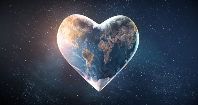 World in heart shape reflecting PEACE in online classes