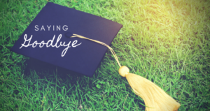 Graduation cap with saying goodbye written on it