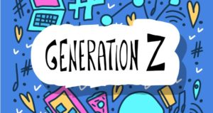 Generation Z with modern-tech doodles surround it
