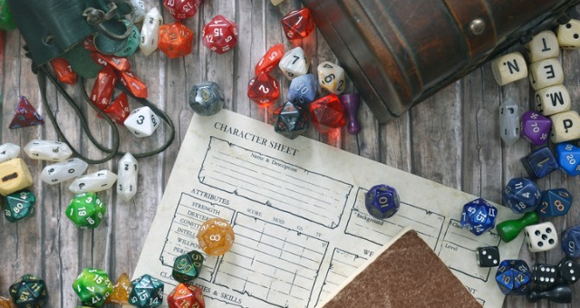 A character sheet and game elements represent integrating gamification into online courses
