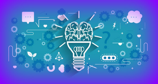Lightbulb with other learning icons represent asynchronous learning