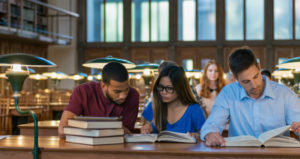 Students read in college setting