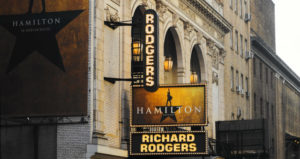 Hamilton broadway show and Richard Rodgers signs showcasedd on theater