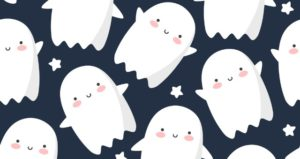 Ghosts and stars appear on black background