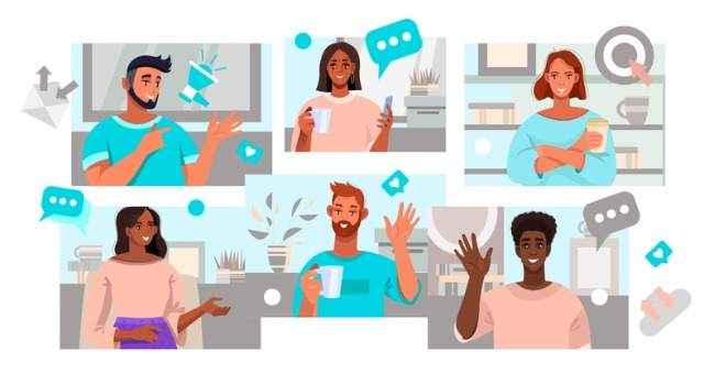 Group of students on virtual meeting platform raise hands and have discussion icons