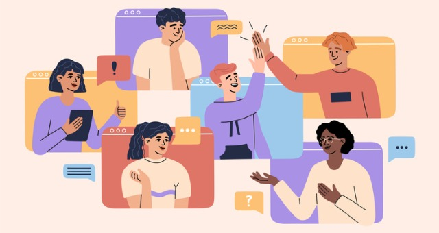 Students are each in their own computer frame and attempt to high five one another in engaging lecture