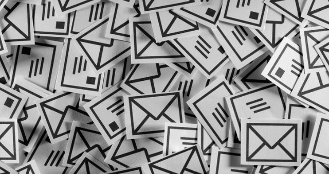 Envelope icons cover the screen indicating email spam