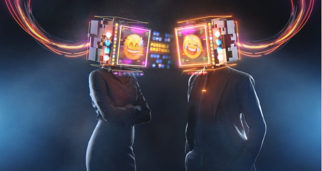 Two people standing with emoji heads that are smiling and laughing
