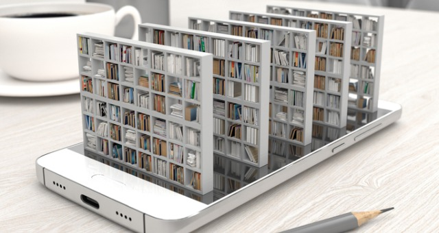 Device showcases bookshelves with books coming out from the device