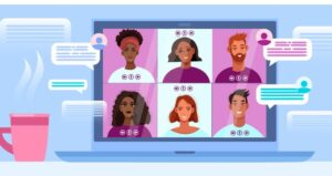 Students attend video call with discussion chats and emojis on computer