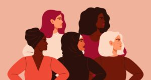 Women of all different ethnicities stand side by side