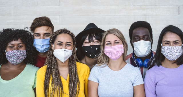 Students with masks form inclusive community