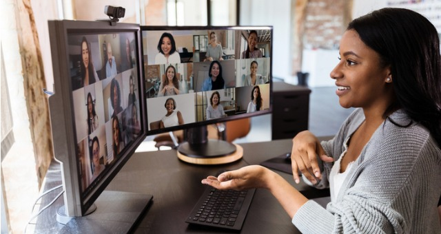 Student talks to numerous other individuals via Zoom conference call