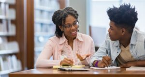 Advisor meets with student to discuss education