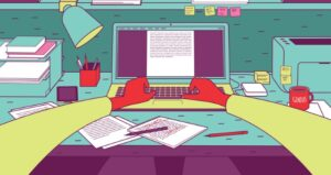 Cartoon features stretched arms writing on computer and notes everywhere on desk