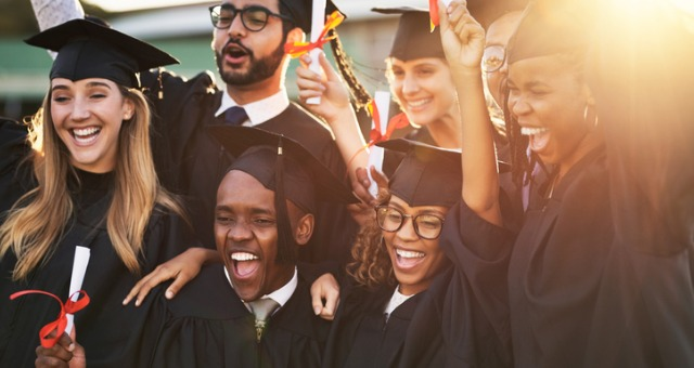 Diverse group of students celebrate success when graduating