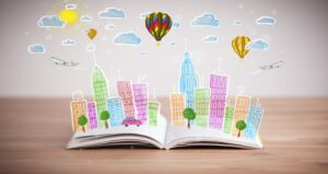 Book with a story coming out from the pages full of color and a city landscape