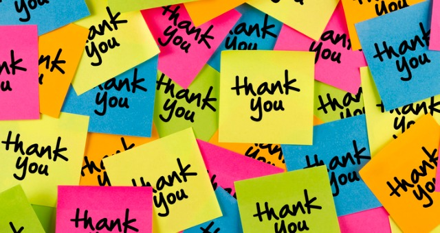 Multi-colored thank you sticky notes