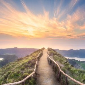 Mountain path leading to landscape